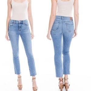 Level 99 High Rise Straight Crop Raw Hem Jeans